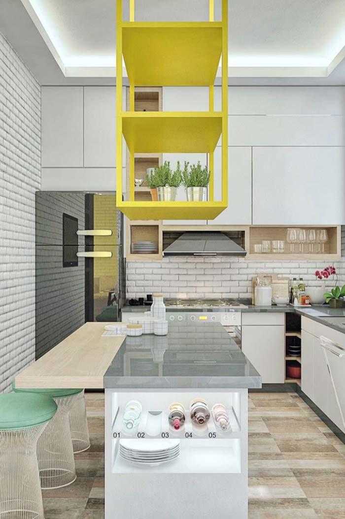 Cozinha com balcão multiuso