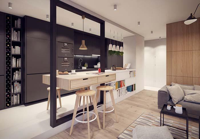 Balcão com gavetas servindo dois ambientes ao mesmo tempo