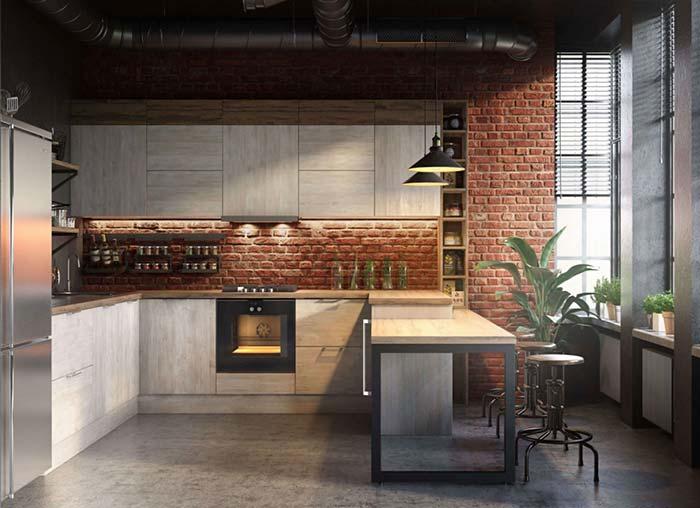 Cozinha de tijolinhos com balcão vazado