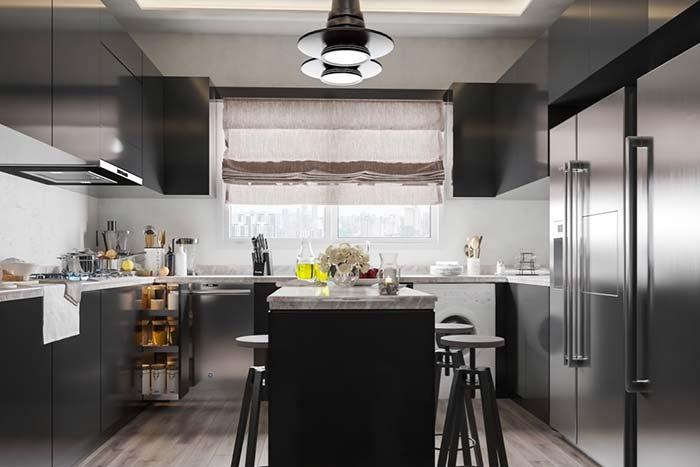 Cozinha com balcão: 60 ideias de diferentes projetos com balcão
