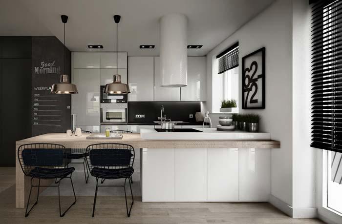 Cozinha gourmet com balcão e ilha integrados
