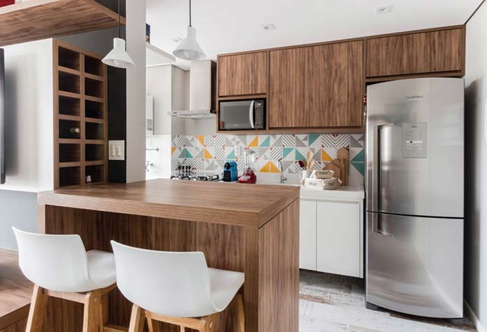 Unificação da cozinha com móveis sob medida