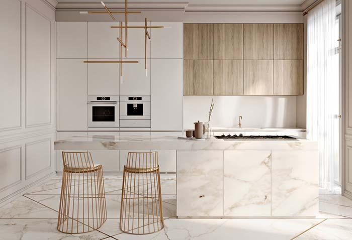 Cozinha luxuosa com balcão