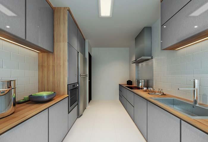 Cozinha estreita com balcão