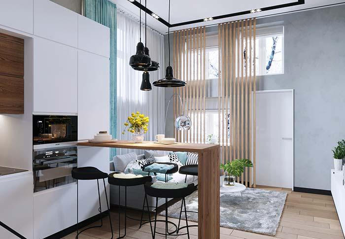 Cozinha com balcão simples