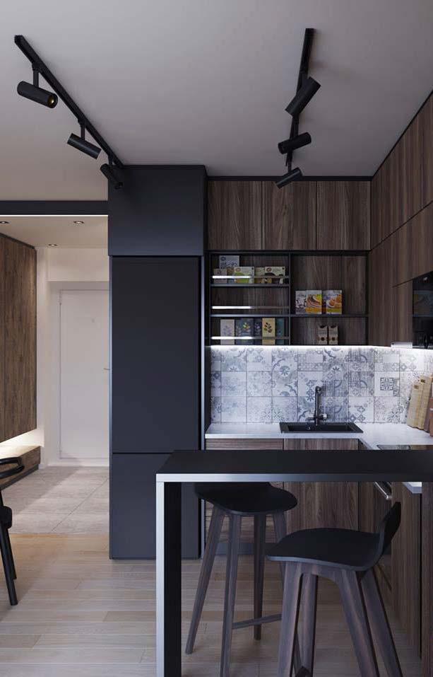Cozinha com balcão simples em L