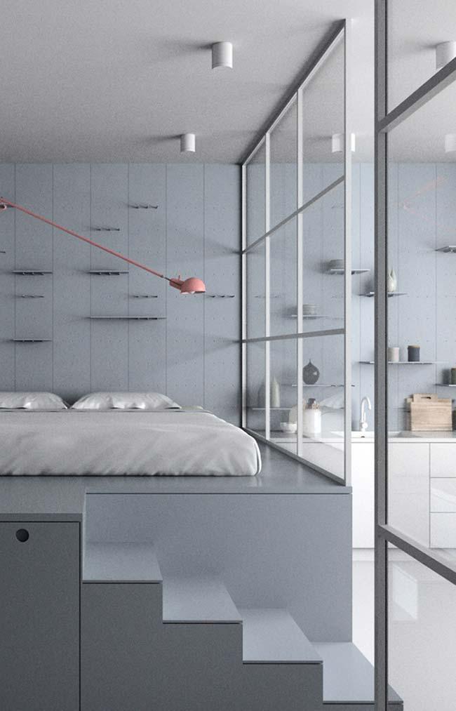 Divisória de vidro para separar o quarto da casa