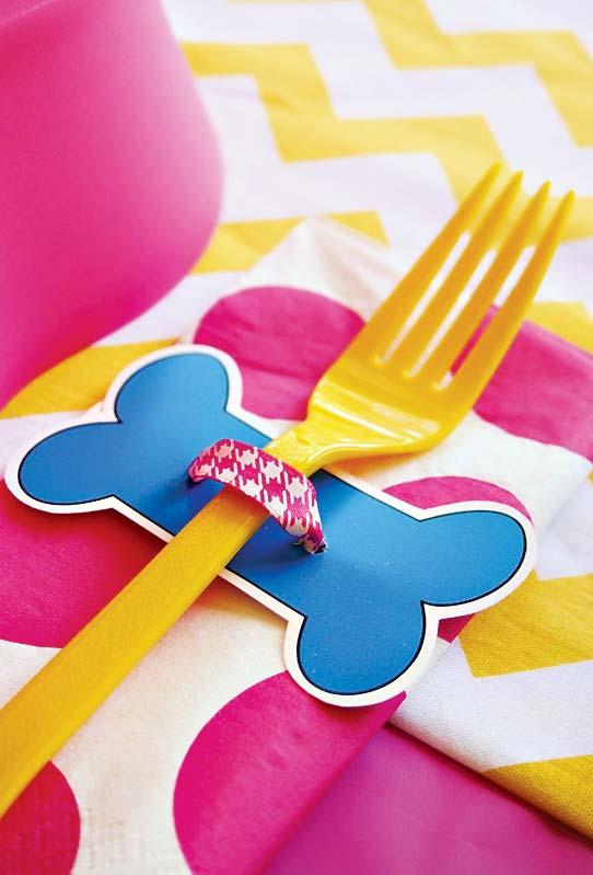 Anel decorativo de talheres para festa Patrulha Canina