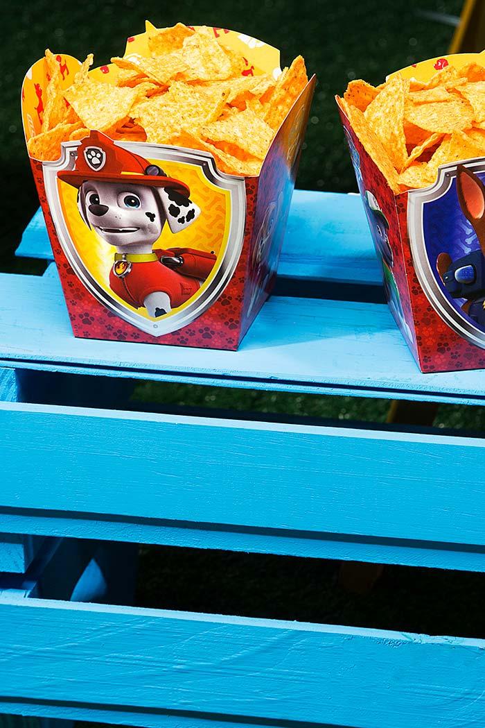 Embalagem com caezinhos favoritos da festa patrulha canina