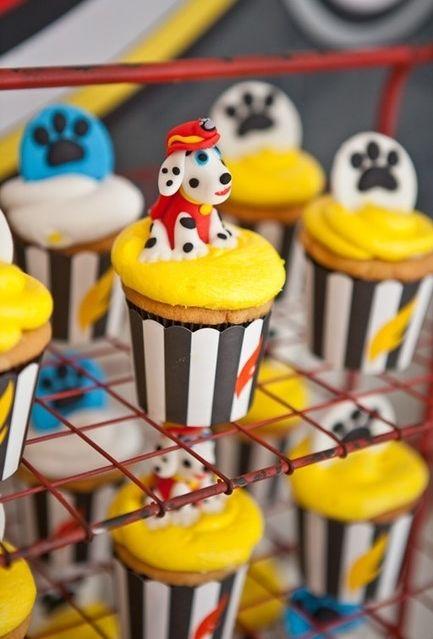 Decoração de cupcakes para festa patrulha canina