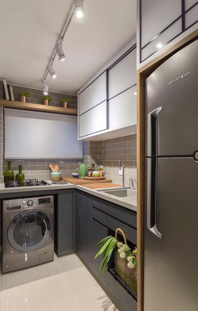 Cozinha moderna com cuba esculpida