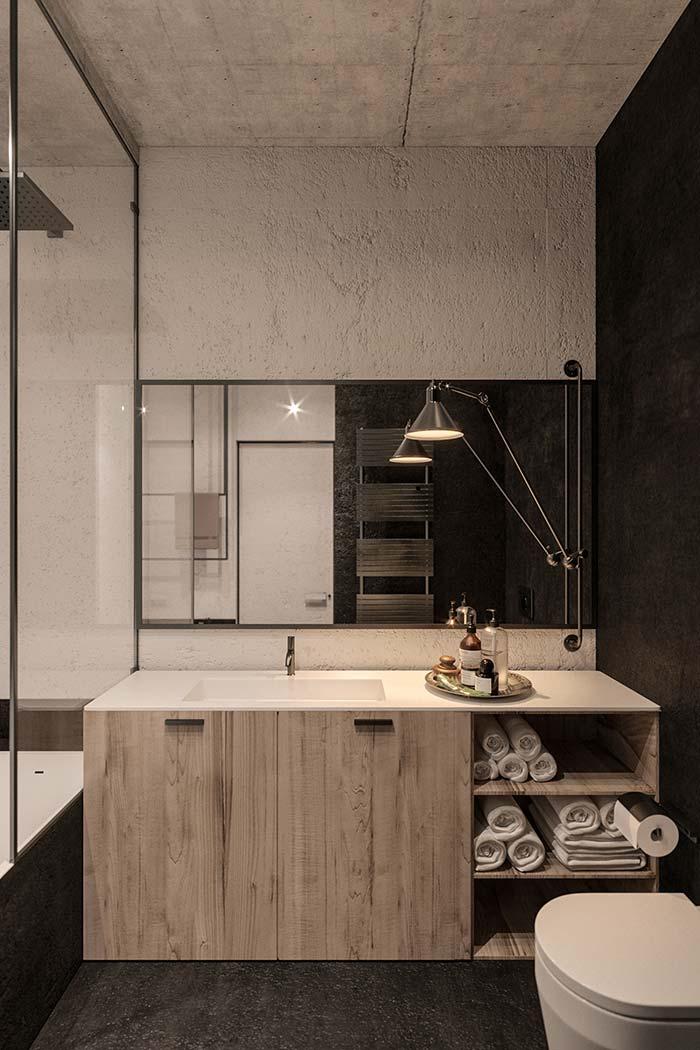Gabinete de madeira com cuba esculpida