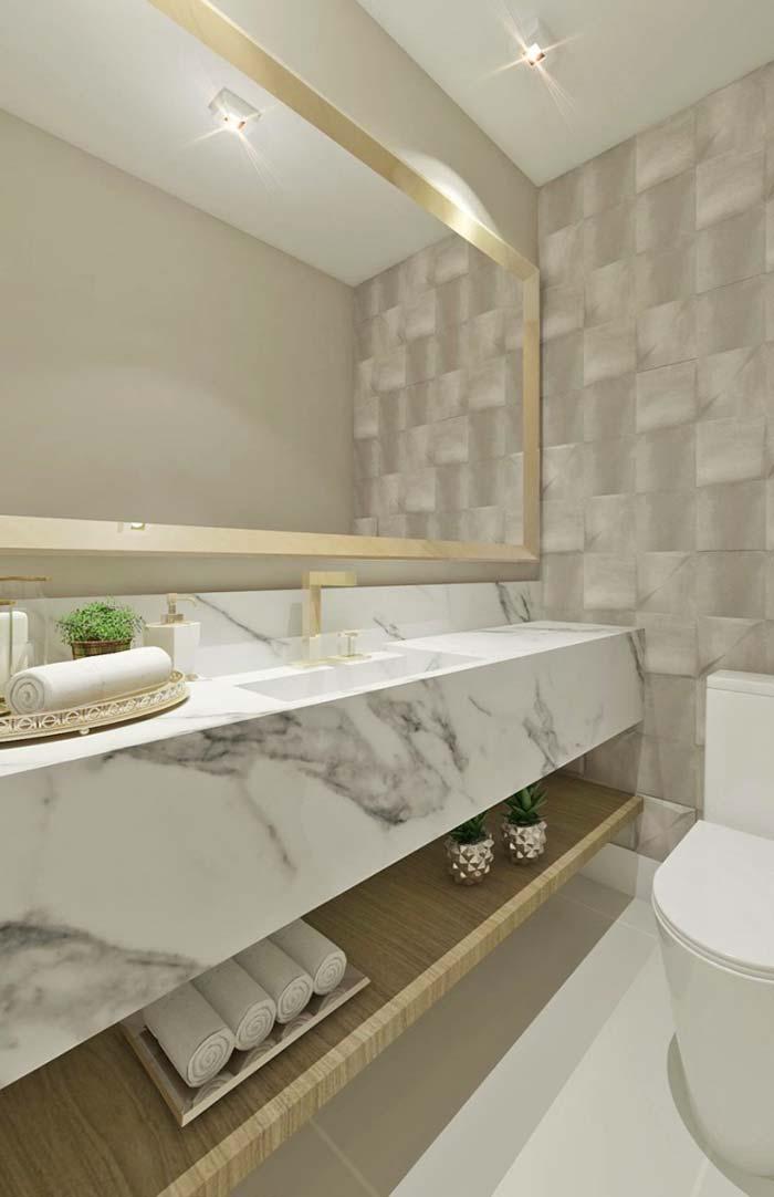 Banheiro luxuoso com cuba esculpida
