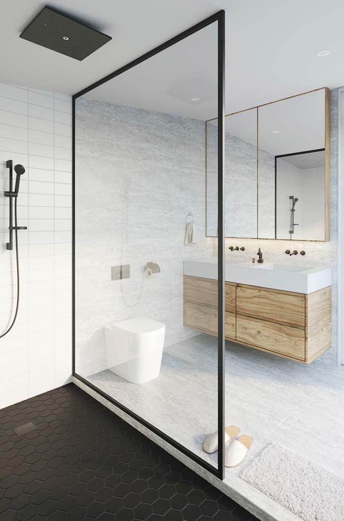 Banheiro clean com bancada branca