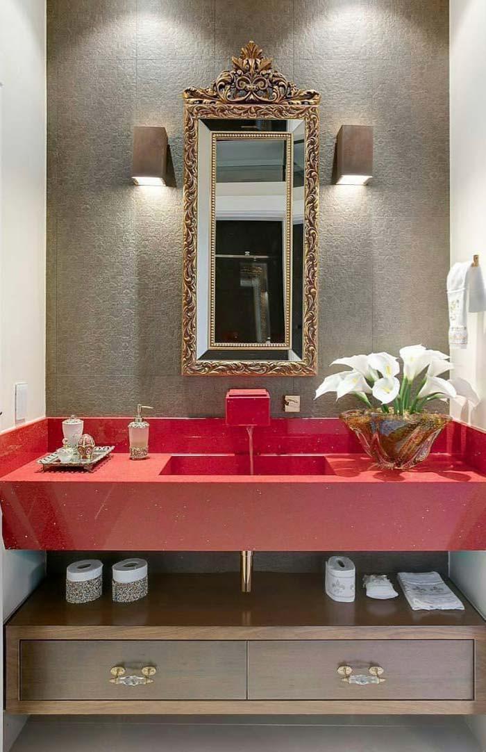 Banheiro com cuba esculpida em Silistone