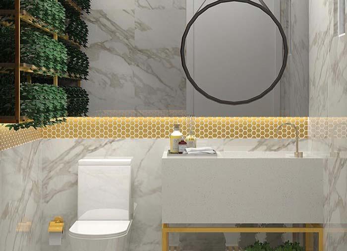 Bancada de banheiro simples com cuba esculpida