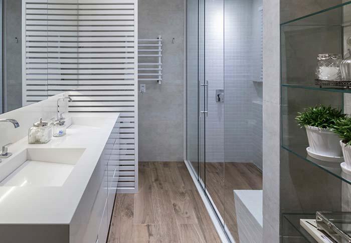 Banheiro com cuba dupla esculpida