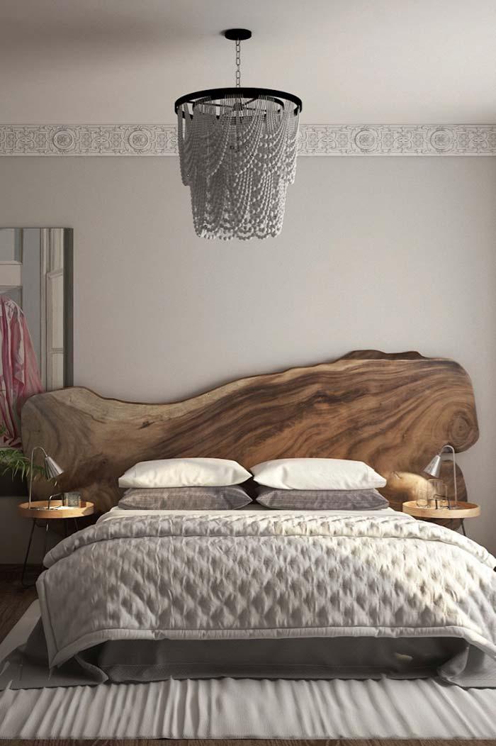 Cabeceira de casal rústica de madeira