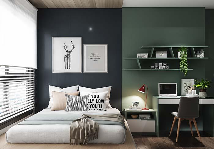 Cores fortes na parede da cama