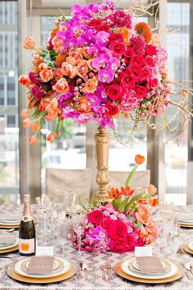 Decoração de formatura com flores