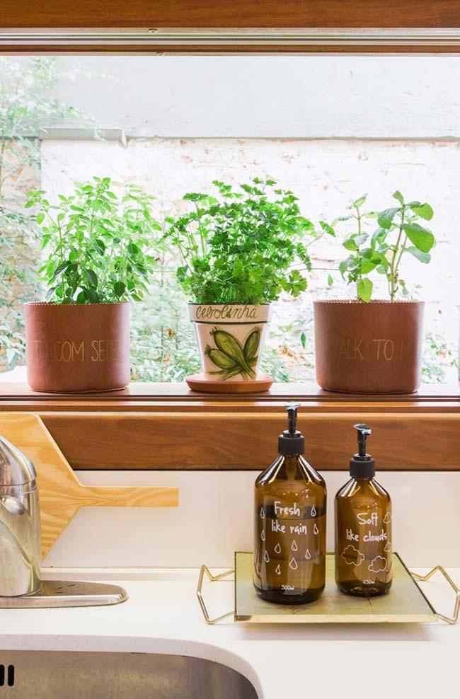 Horta caseira com nome das plantinhas