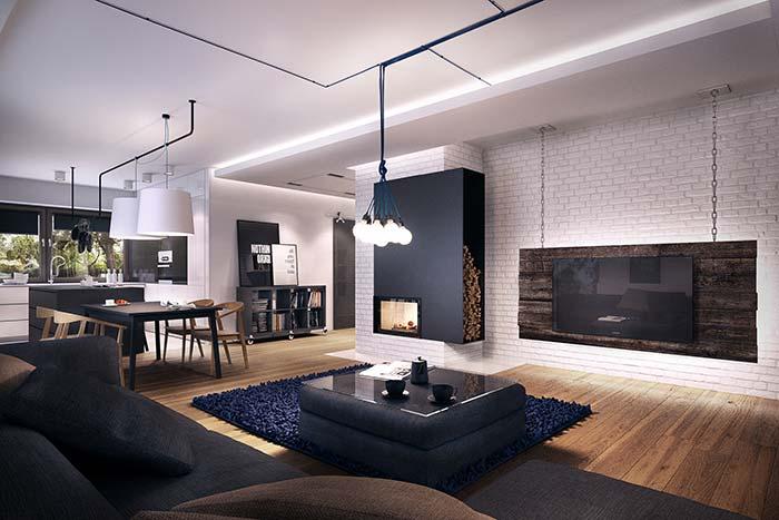 Buquê de lâmpadas sobre o centro da sala