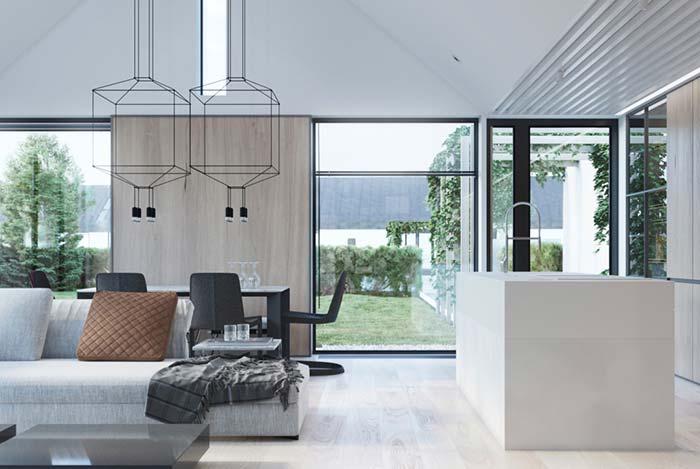 Luminária para sala em formato de caixa geométrica