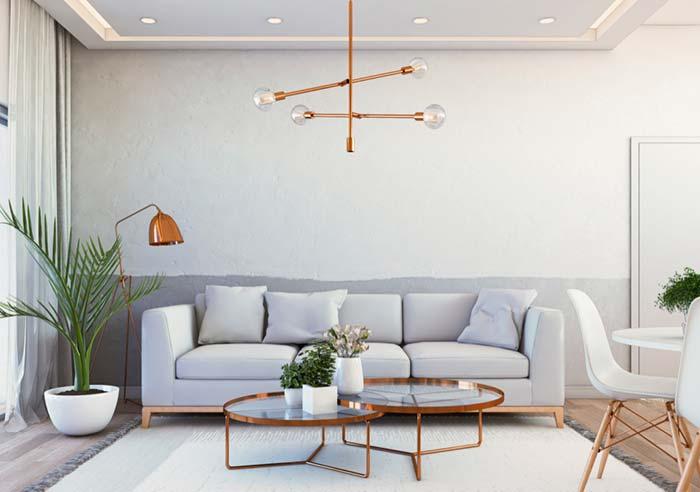 Luminária para sala na cor cobre