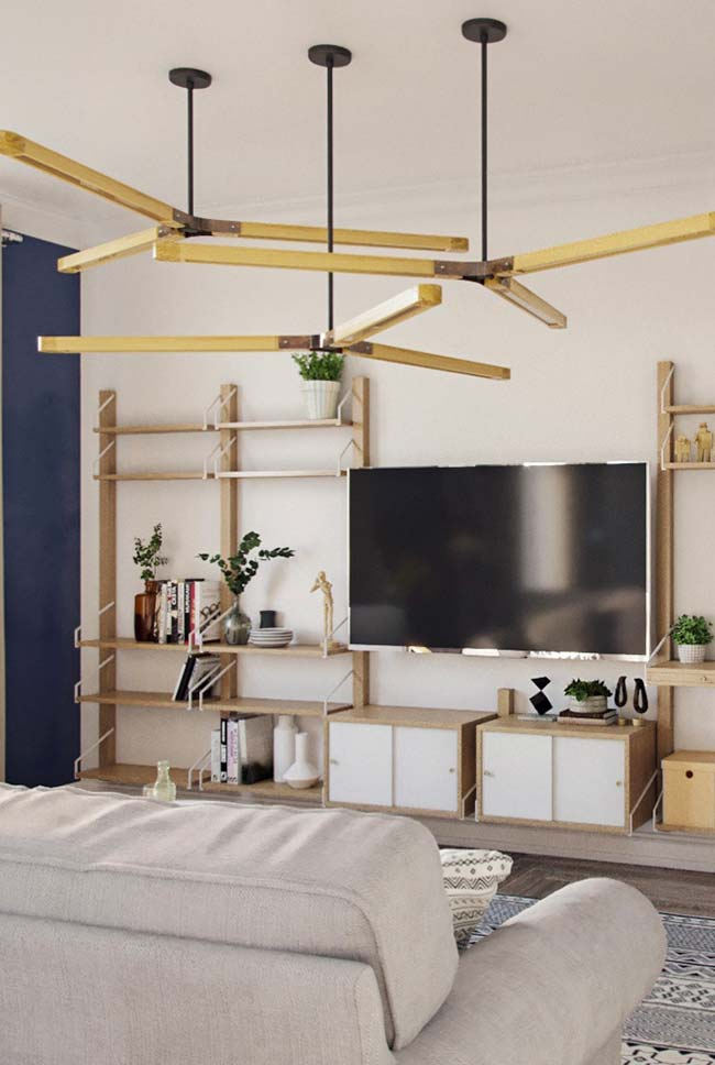 Luminária para sala no estilo ventilador de teto