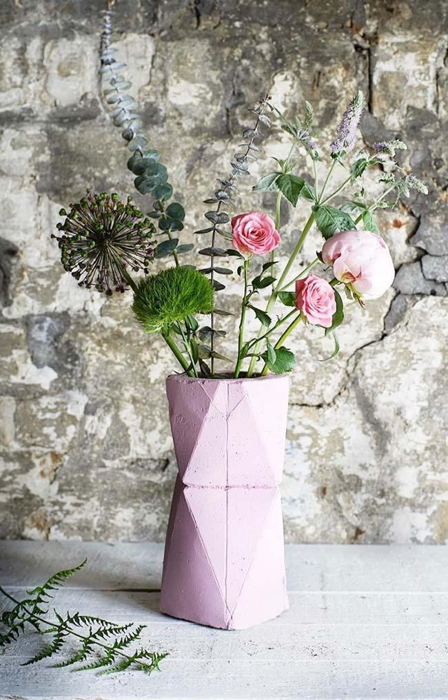 Vaso de cimento colorido