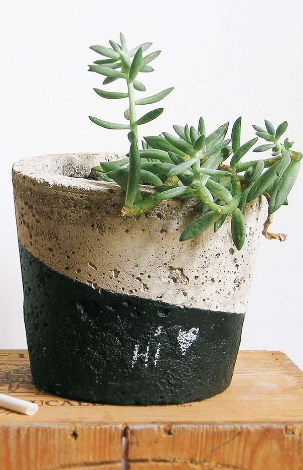 Duo de cores no vaso de cimento