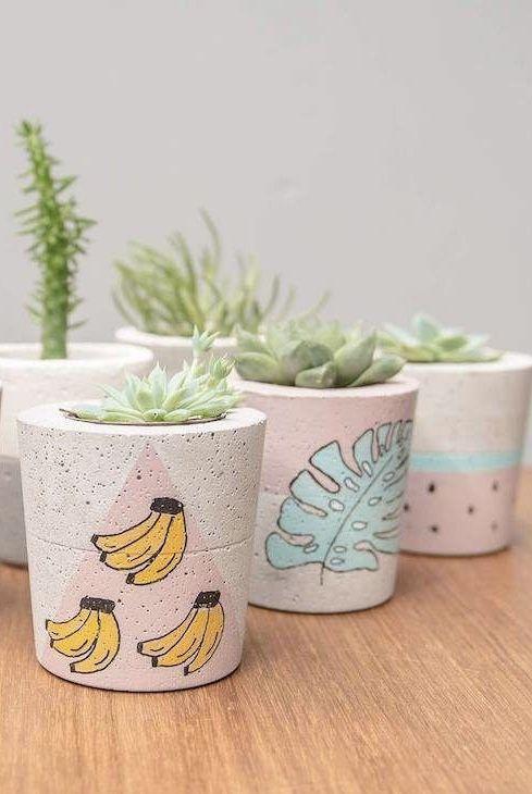 Vaso de cimento personalizado com desenhos