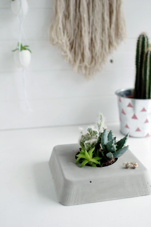 Vaso de cimento pequeno e delicado
