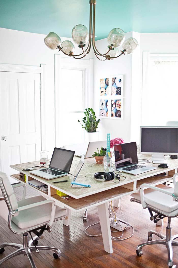 Artesanato com paletes para mesa de escritório
