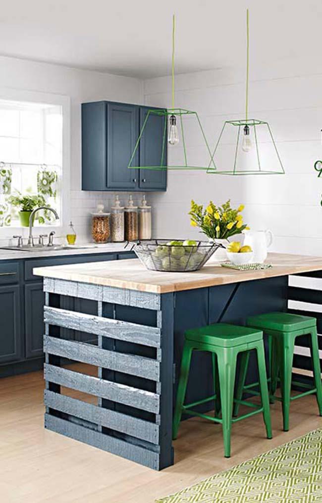 Ilha de cozinha feita com paletes