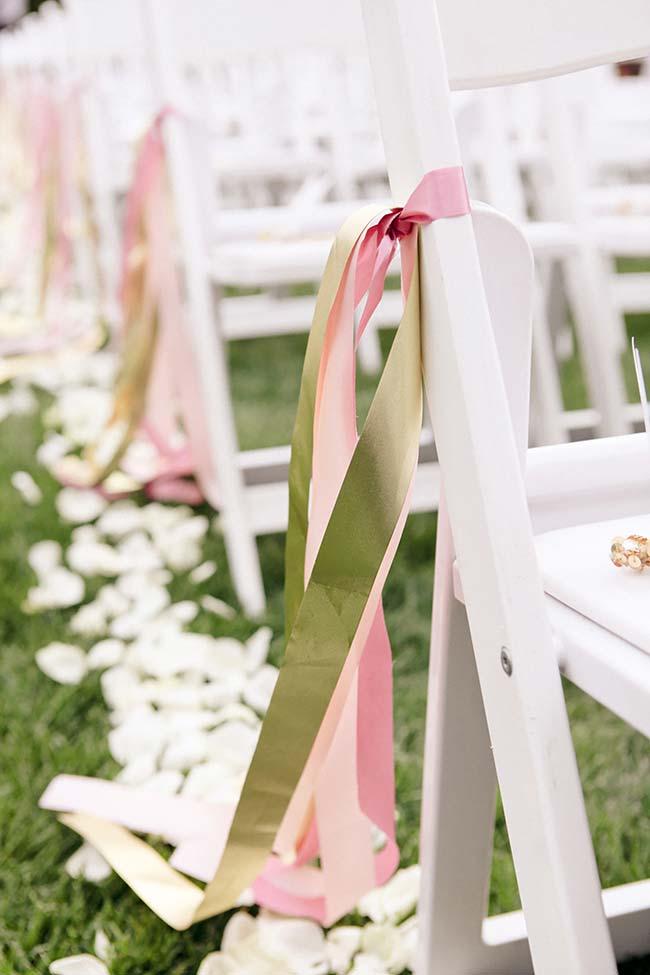 Fitas de cetim na decoração de casamento 2018