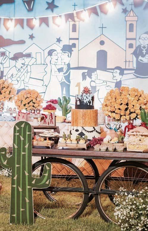 Painel de festa junina no clima das festas nordestinas