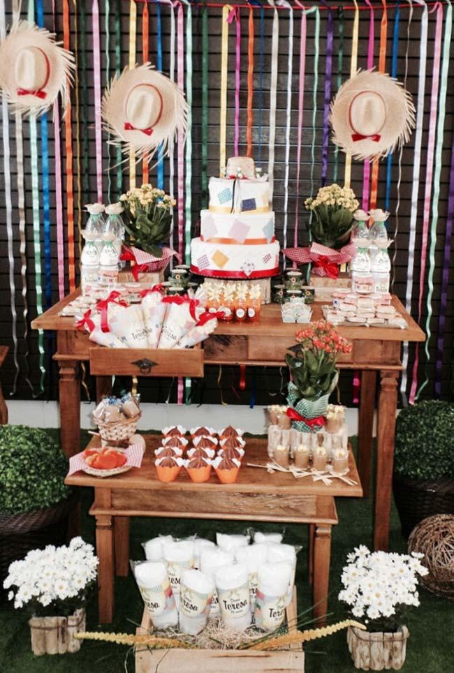 Chapéus com fitas coloridas no painel de festa junina