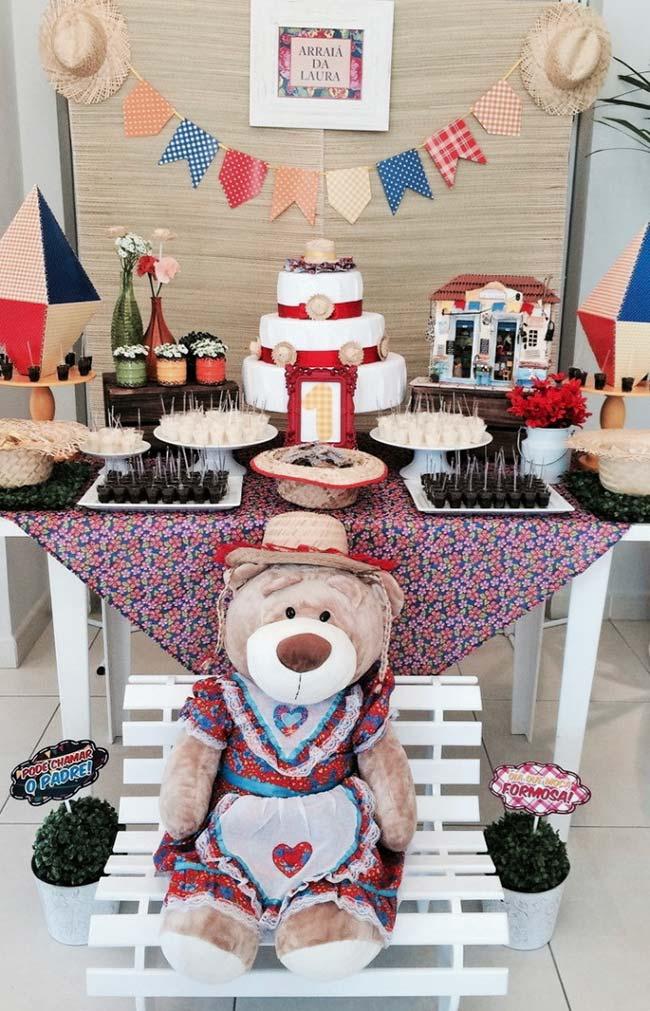 Ursos na decoração da festa junina