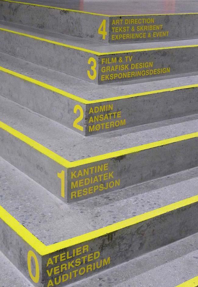 Departamentos no início da escada de concreto