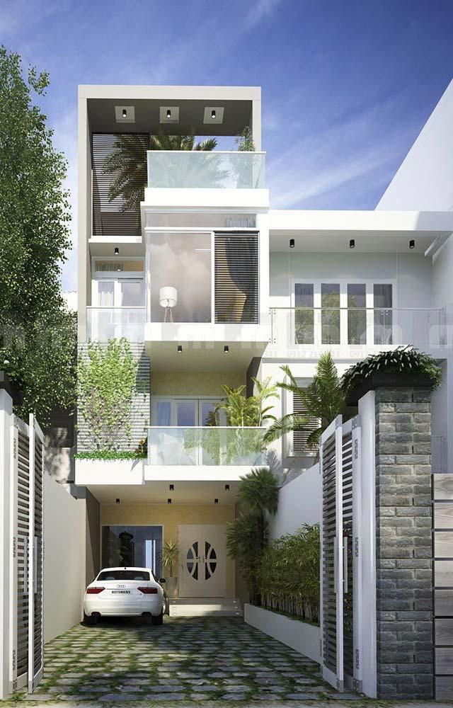 Construção moderna com telhado plano