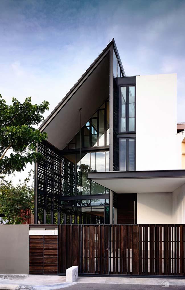 Casa com telhado Skillion