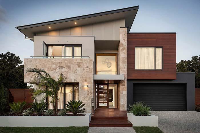 Casa com telhado Skillion e telhado plano