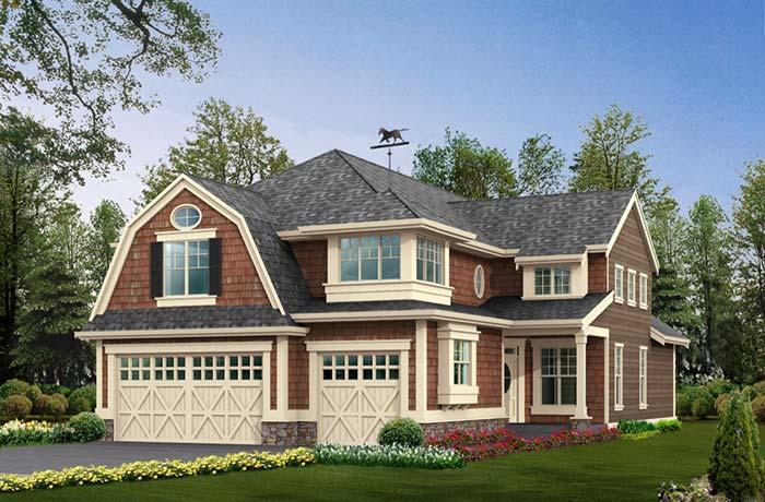Casa grande com telhado gambrel