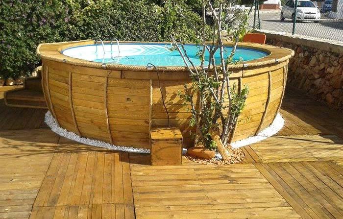 Modelo redondo de piscina de pallet