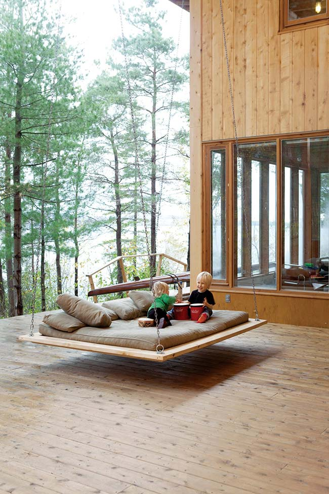 Varanda de madeira com conforto