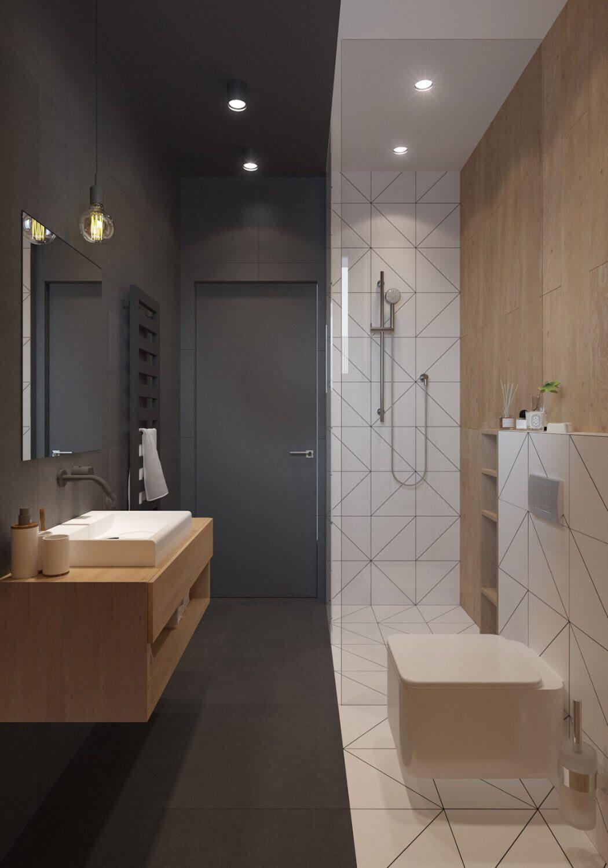 Banheiro pequeno decorado retangular