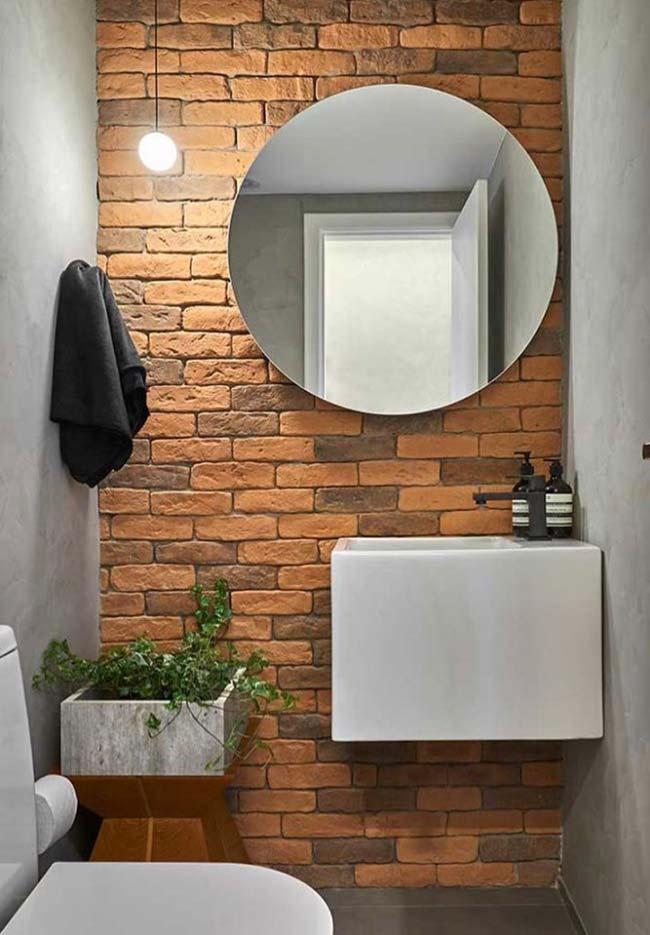 Banheiro pequeno decorado rústico