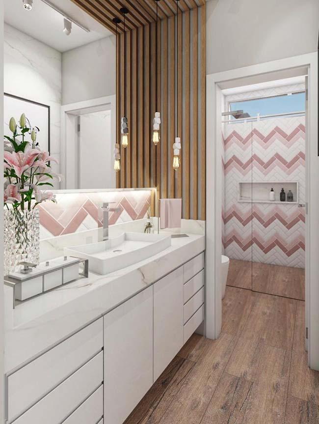 Zigue zague em tons de rosa do azulejo dão toque especial à decoração