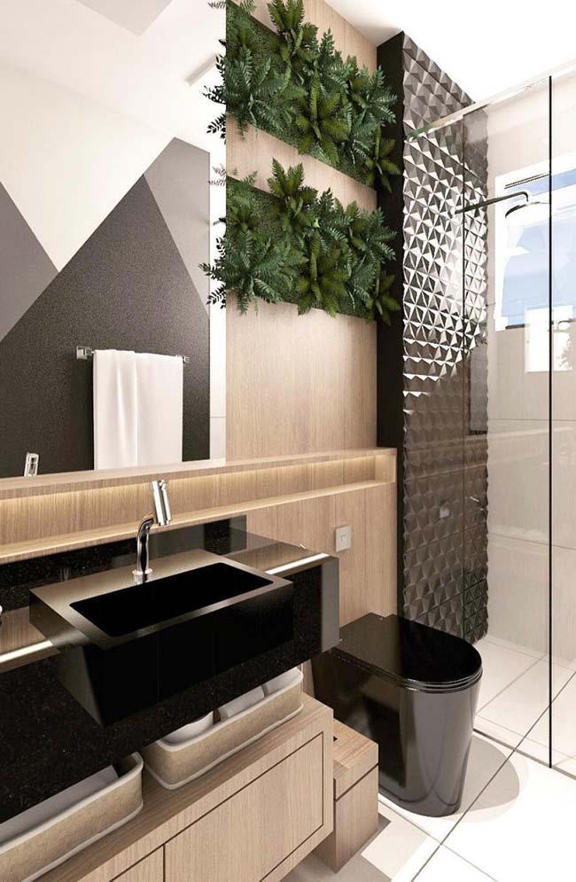 Preto traz sofisticação para o banheiro pequeno decorado